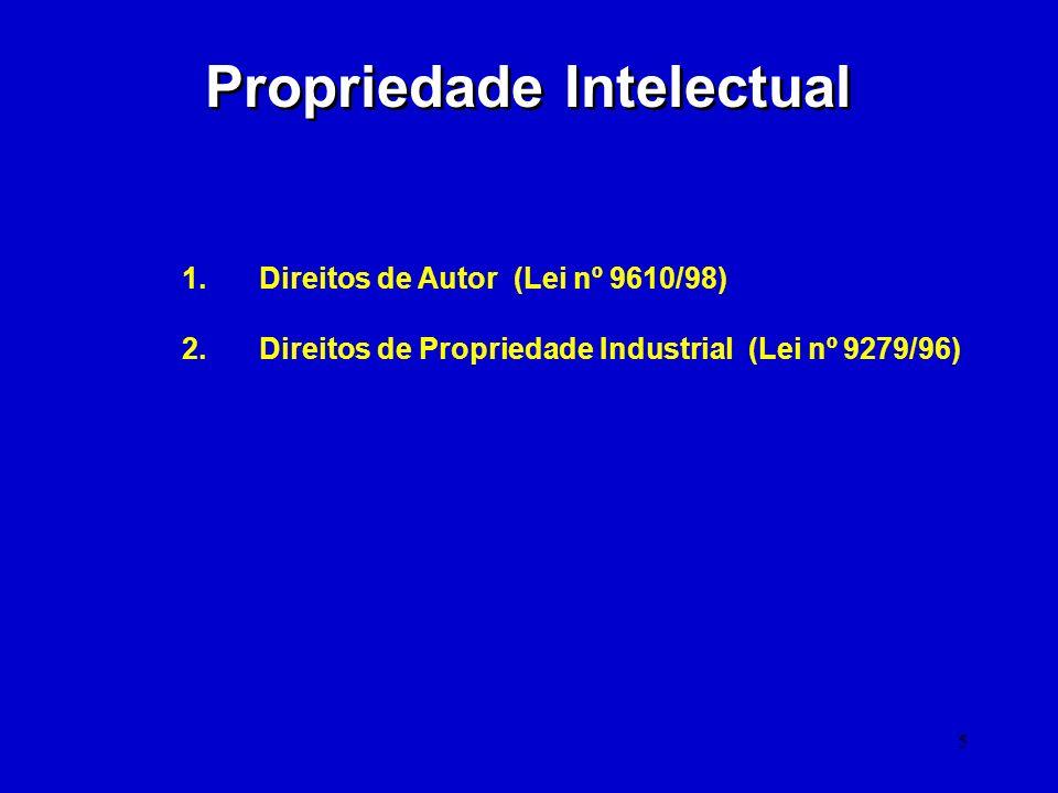 5 Propriedade Intelectual 1. Direitos de Autor (Lei nº 9610/98) 2. Direitos de Propriedade Industrial (Lei nº 9279/96)