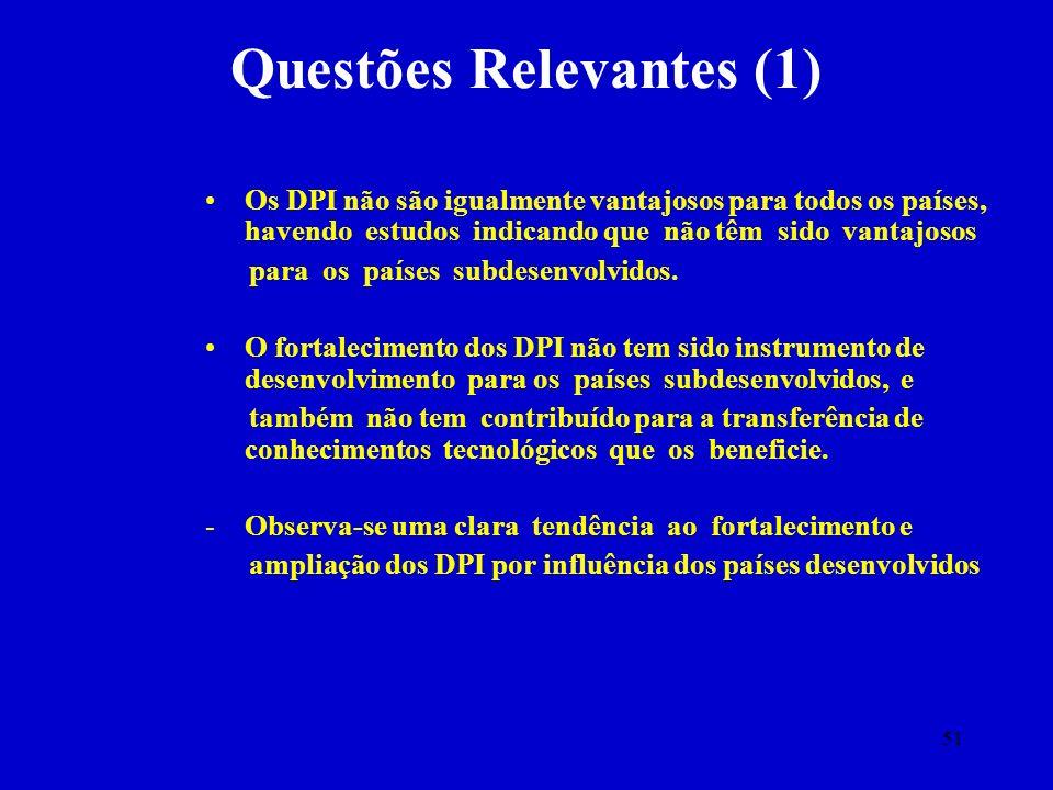 51 Questões Relevantes (1) Os DPI não são igualmente vantajosos para todos os países, havendo estudos indicando que não têm sido vantajosos para os pa