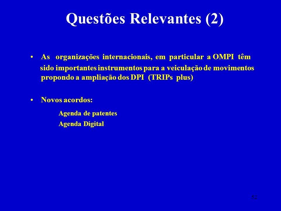 52 Questões Relevantes (2) As organizações internacionais, em particular a OMPI têm sido importantes instrumentos para a veiculação de movimentos prop