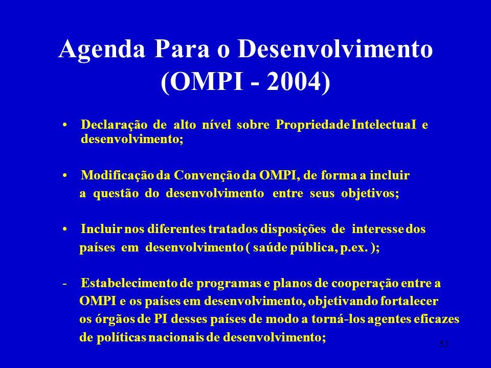 53 Agenda Para o Desenvolvimento (OMPI - 2004) Declaração de alto nível sobre Propriedade IntelectuaI e desenvolvimento; Modificação da Convenção da O
