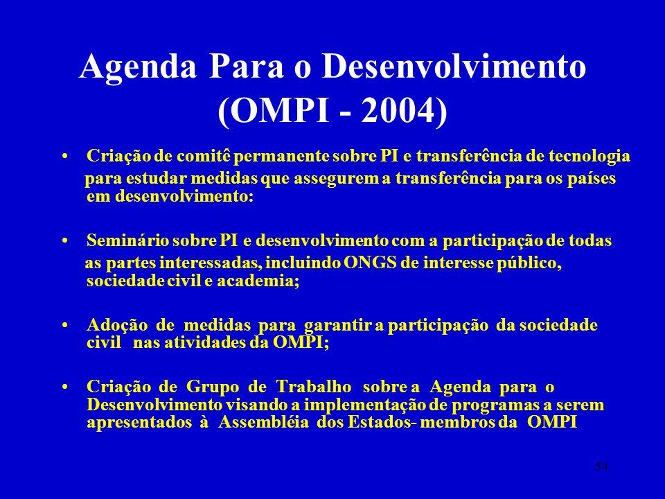 54 Agenda Para o Desenvolvimento (OMPI - 2004) Criação de comitê permanente sobre PI e transferência de tecnologia para estudar medidas que assegurem