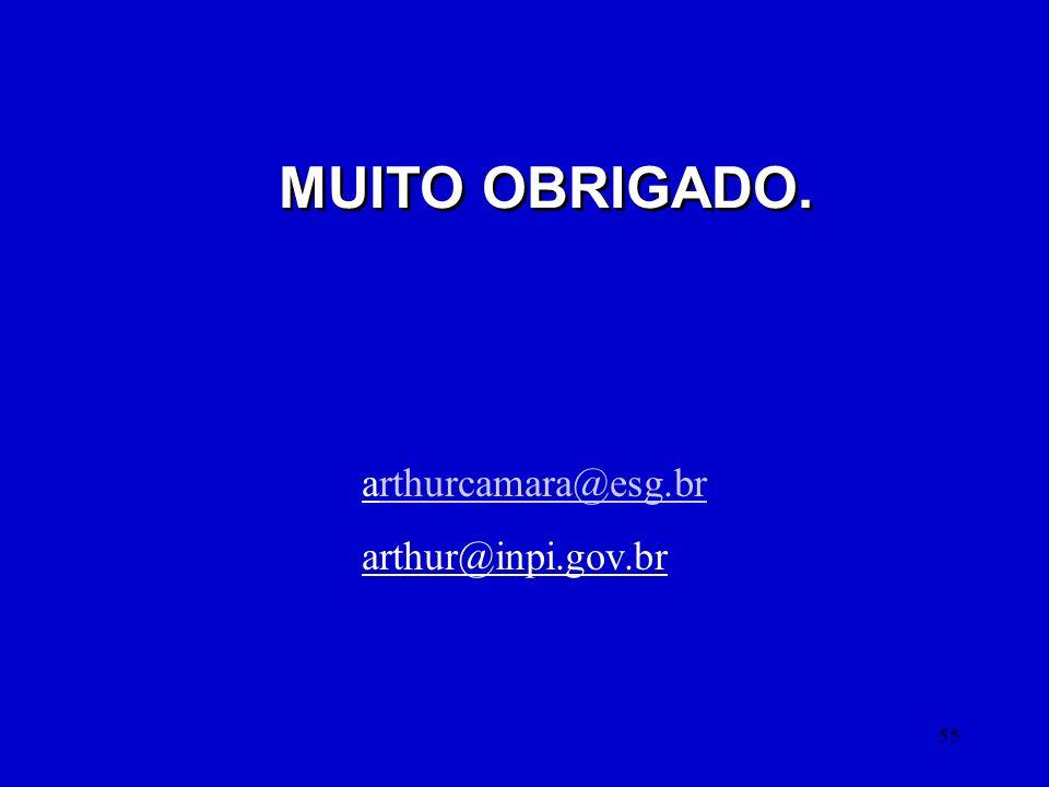 55 MUITO OBRIGADO. arthurcamara@esg.brrthurcamara@esg.br arthur@inpi.gov.br