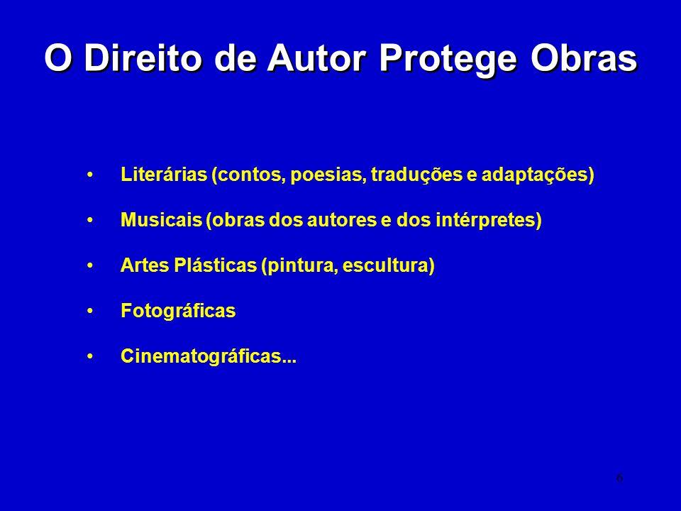 6 O Direito de Autor Protege Obras Literárias (contos, poesias, traduções e adaptações) Musicais (obras dos autores e dos intérpretes) Artes Plásticas