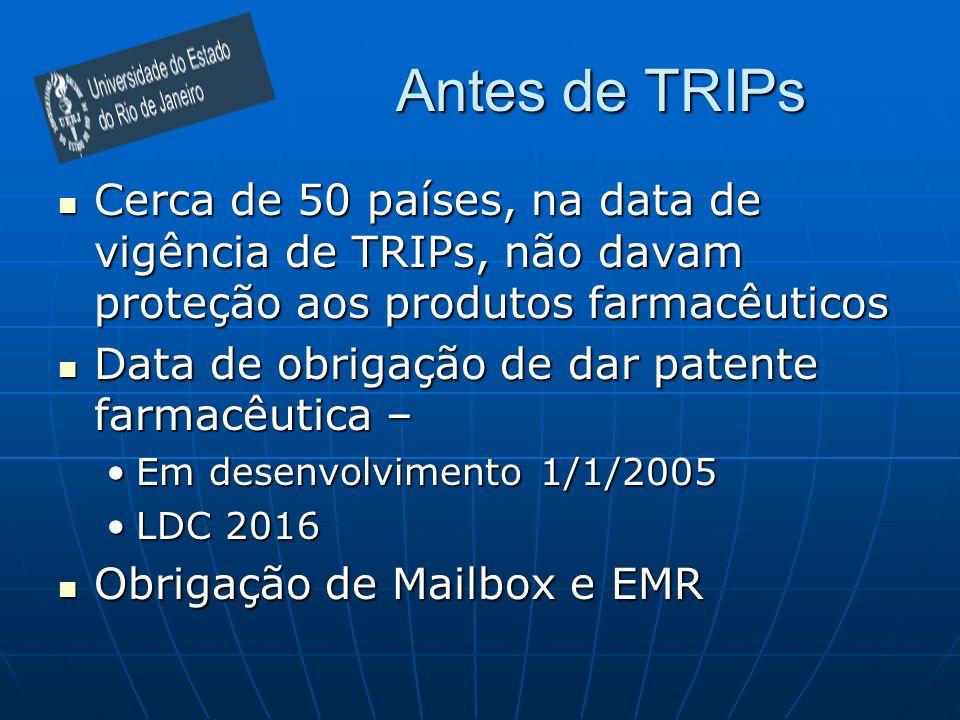Antes de TRIPs Cerca de 50 países, na data de vigência de TRIPs, não davam proteção aos produtos farmacêuticos Cerca de 50 países, na data de vigência de TRIPs, não davam proteção aos produtos farmacêuticos Data de obrigação de dar patente farmacêutica – Data de obrigação de dar patente farmacêutica – Em desenvolvimento 1/1/2005Em desenvolvimento 1/1/2005 LDC 2016LDC 2016 Obrigação de Mailbox e EMR Obrigação de Mailbox e EMR