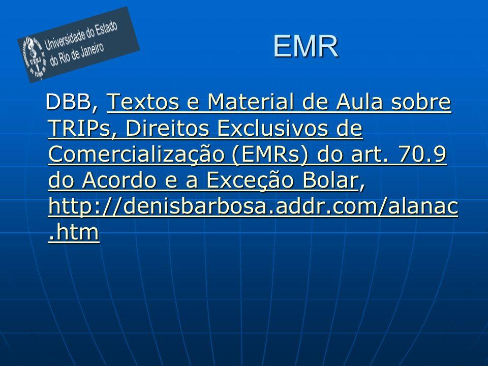 EMR DBB, Textos e Material de Aula sobre TRIPs, Direitos Exclusivos de Comercialização (EMRs) do art.
