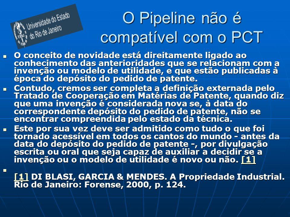 O Pipeline não é compatível com o PCT O conceito de novidade está direitamente ligado ao conhecimento das anterioridades que se relacionam com a invenção ou modelo de utilidade, e que estão publicadas à época do depósito do pedido de patente.