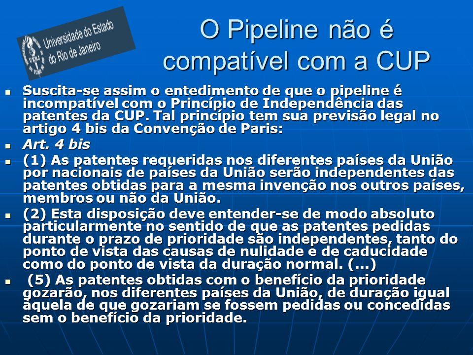 O Pipeline não é compatível com a CUP Suscita-se assim o entedimento de que o pipeline é incompatível com o Princípio de Independência das patentes da CUP.