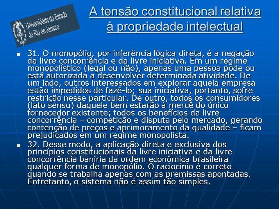 A tensão constitucional relativa à propriedade intelectual 31.