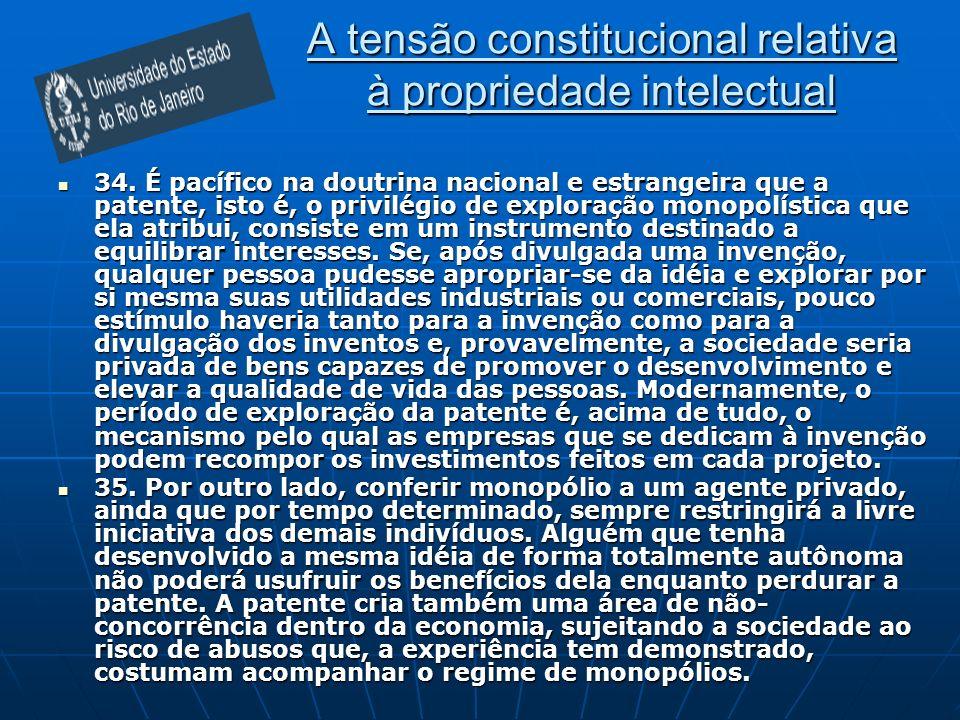 A tensão constitucional relativa à propriedade intelectual 34.