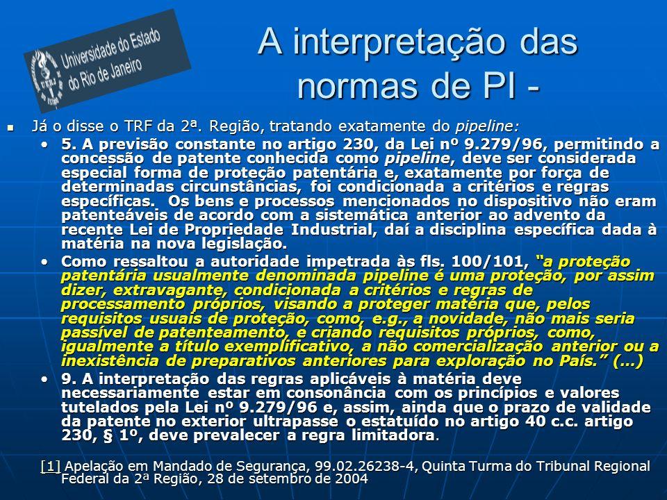 A interpretação das normas de PI - Já o disse o TRF da 2ª.
