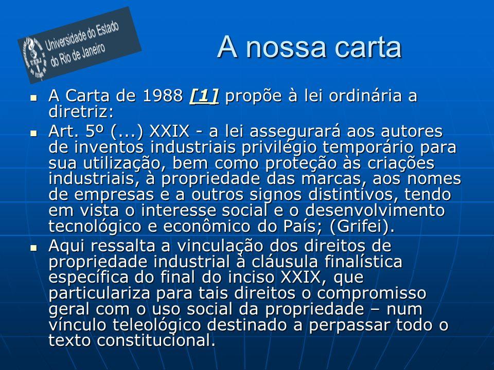 A nossa carta A Carta de 1988 [1] propõe à lei ordinária a diretriz: A Carta de 1988 [1] propõe à lei ordinária a diretriz:[1] Art. 5º (...) XXIX - a
