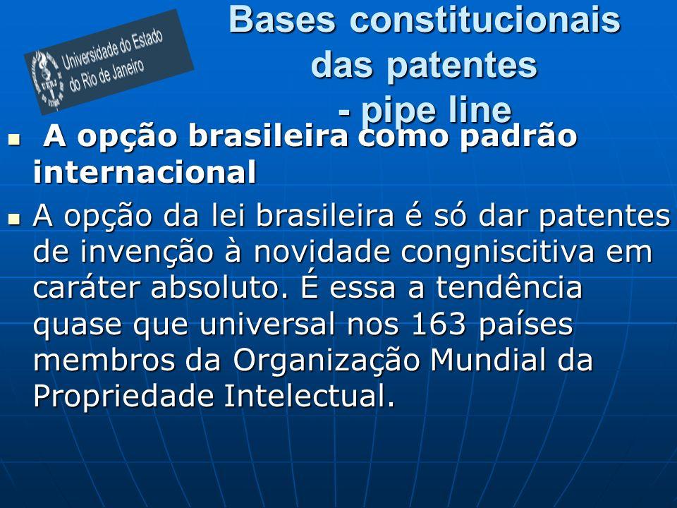 Bases constitucionais das patentes - pipe line A opção brasileira como padrão internacional A opção brasileira como padrão internacional A opção da lei brasileira é só dar patentes de invenção à novidade congniscitiva em caráter absoluto.