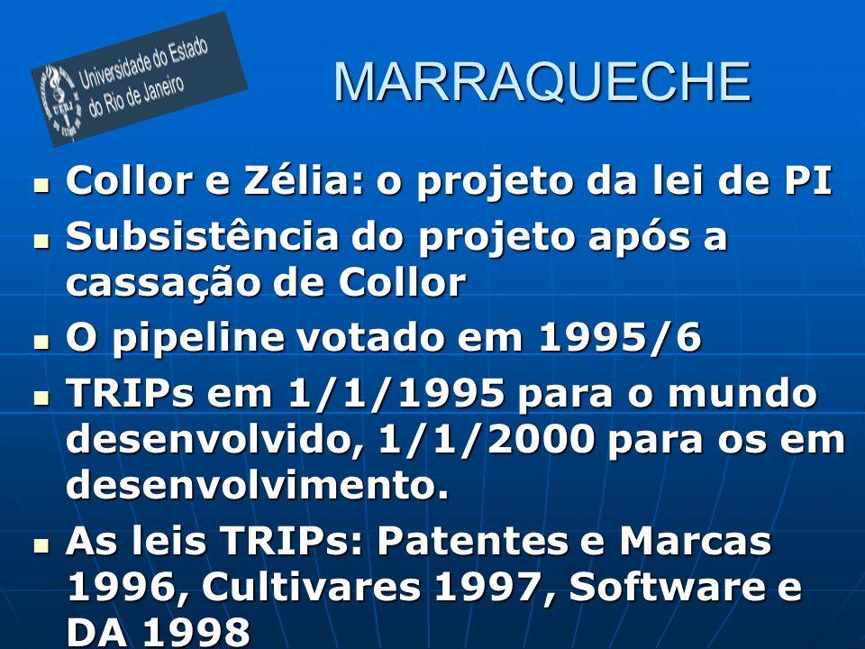 MARRAQUECHE Collor e Zélia: o projeto da lei de PI Collor e Zélia: o projeto da lei de PI Subsistência do projeto após a cassação de Collor Subsistência do projeto após a cassação de Collor O pipeline votado em 1995/6 O pipeline votado em 1995/6 TRIPs em 1/1/1995 para o mundo desenvolvido, 1/1/2000 para os em desenvolvimento.