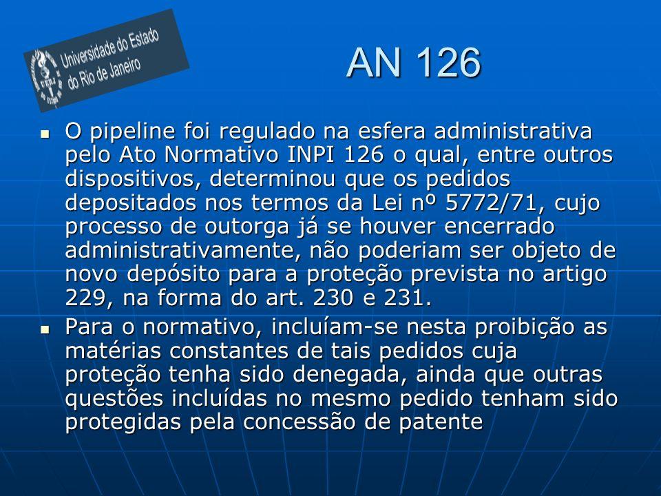 AN 126 O pipeline foi regulado na esfera administrativa pelo Ato Normativo INPI 126 o qual, entre outros dispositivos, determinou que os pedidos depositados nos termos da Lei nº 5772/71, cujo processo de outorga já se houver encerrado administrativamente, não poderiam ser objeto de novo depósito para a proteção prevista no artigo 229, na forma do art.