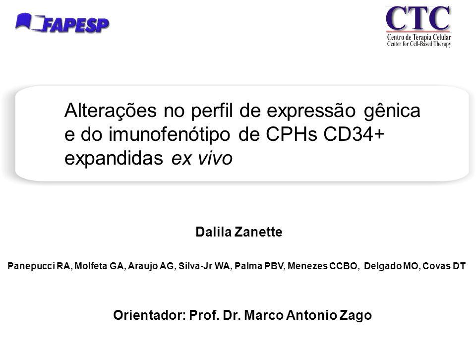 Dalila Zanette Alterações no perfil de expressão gênica e do imunofenótipo de CPHs CD34+ expandidas ex vivo Panepucci RA, Molfeta GA, Araujo AG, Silva