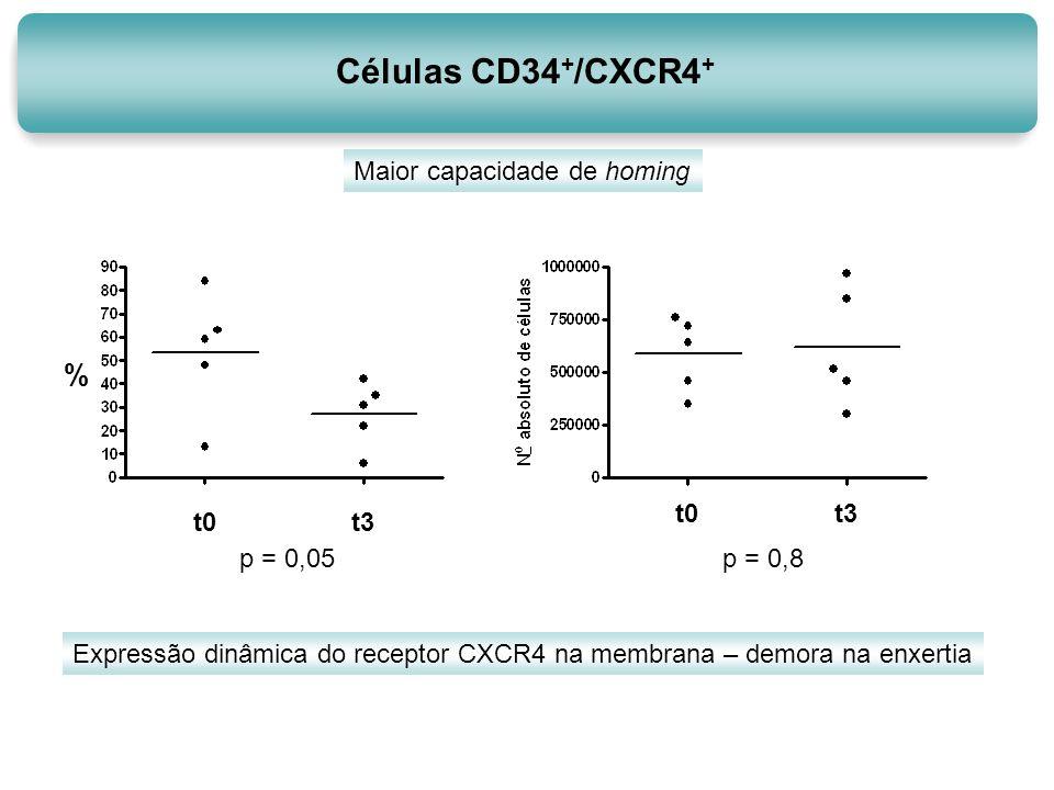 Células CD34 + /CXCR4 + t0t3 p = 0,8 t0t3 p = 0,05 % Expressão dinâmica do receptor CXCR4 na membrana – demora na enxertia Maior capacidade de homing