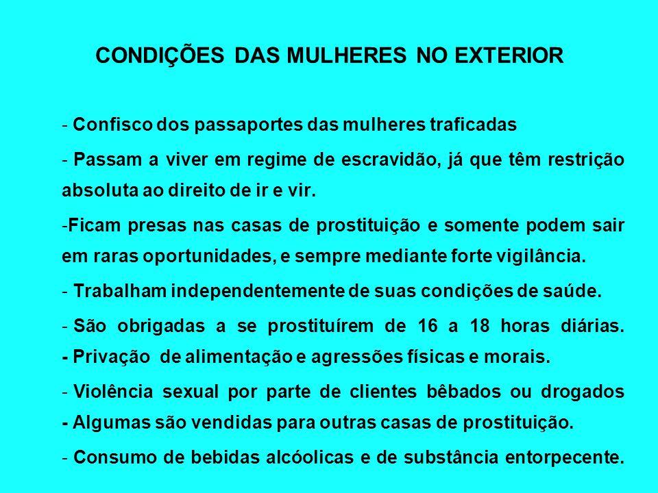 CONDIÇÕES DAS MULHERES NO EXTERIOR - Confisco dos passaportes das mulheres traficadas - Passam a viver em regime de escravidão, já que têm restrição a