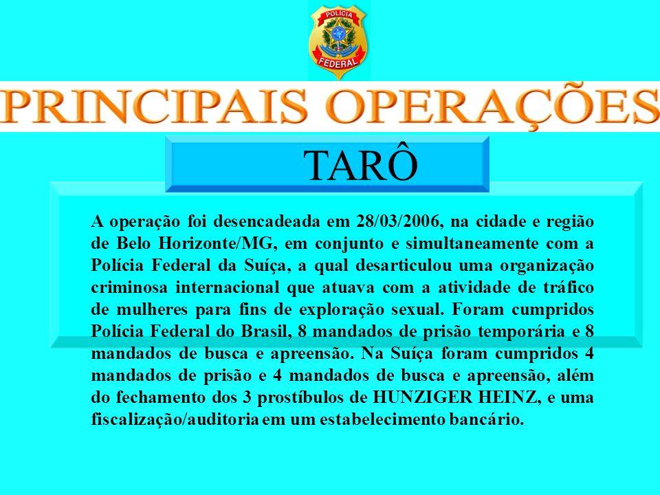 A operação foi desencadeada em 28/03/2006, na cidade e região de Belo Horizonte/MG, em conjunto e simultaneamente com a Polícia Federal da Suíça, a qu