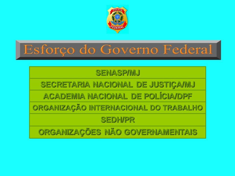 SENASP/MJ SECRETARIA NACIONAL DE JUSTIÇA/MJ ACADEMIA NACIONAL DE POLÍCIA/DPF SEDH/PR ORGANIZAÇÃO INTERNACIONAL DO TRABALHO ORGANIZAÇÕES NÃO GOVERNAMEN