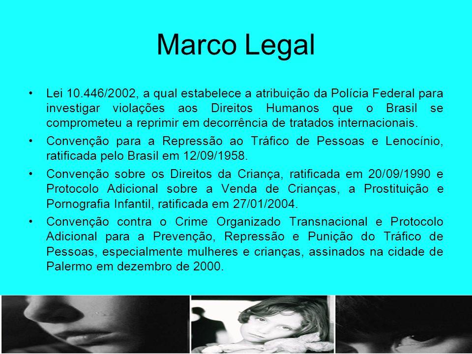 Marco Legal Lei 10.446/2002, a qual estabelece a atribuição da Polícia Federal para investigar violações aos Direitos Humanos que o Brasil se comprome