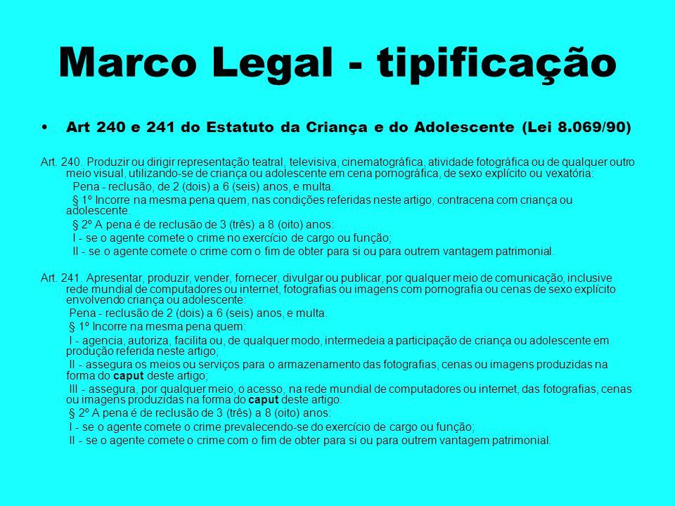 Marco Legal - tipificação Art 240 e 241 do Estatuto da Criança e do Adolescente (Lei 8.069/90) Art. 240. Produzir ou dirigir representação teatral, te