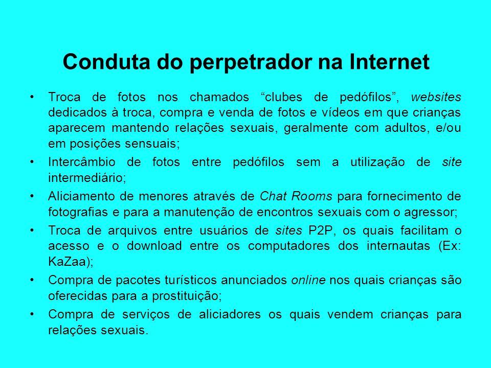 Conduta do perpetrador na Internet Troca de fotos nos chamados clubes de pedófilos, websites dedicados à troca, compra e venda de fotos e vídeos em qu