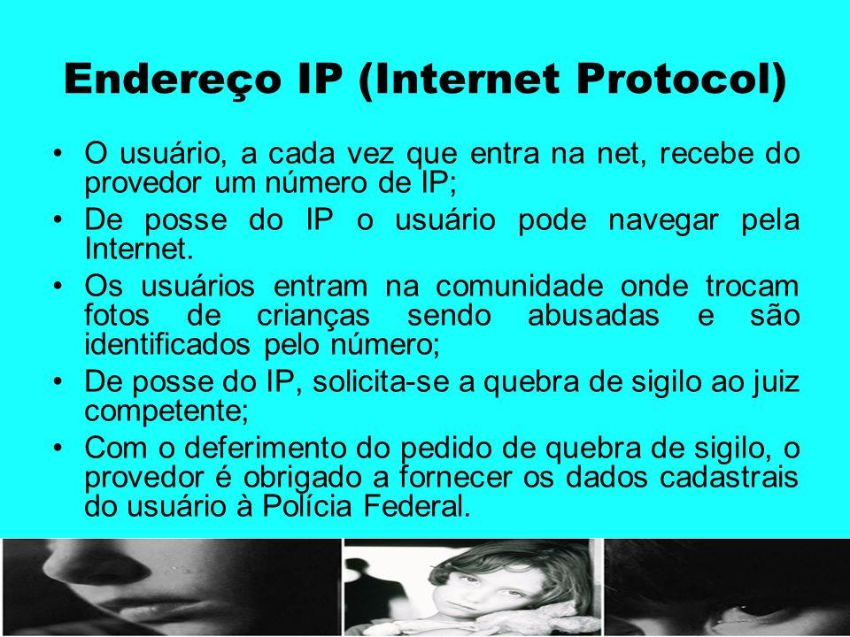 Endereço IP (Internet Protocol) O usuário, a cada vez que entra na net, recebe do provedor um número de IP; De posse do IP o usuário pode navegar pela