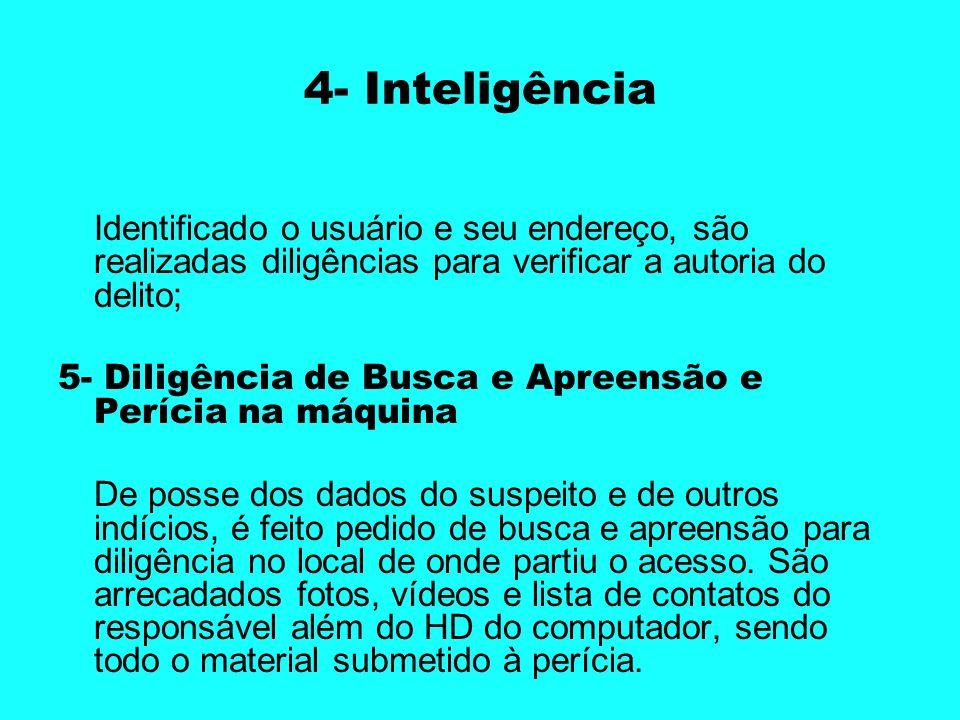 4- Inteligência Identificado o usuário e seu endereço, são realizadas diligências para verificar a autoria do delito; 5- Diligência de Busca e Apreens