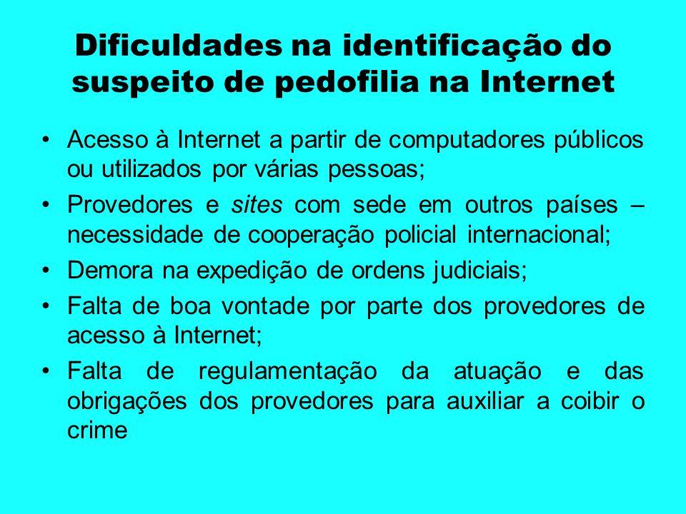Dificuldades na identificação do suspeito de pedofilia na Internet Acesso à Internet a partir de computadores públicos ou utilizados por várias pessoa