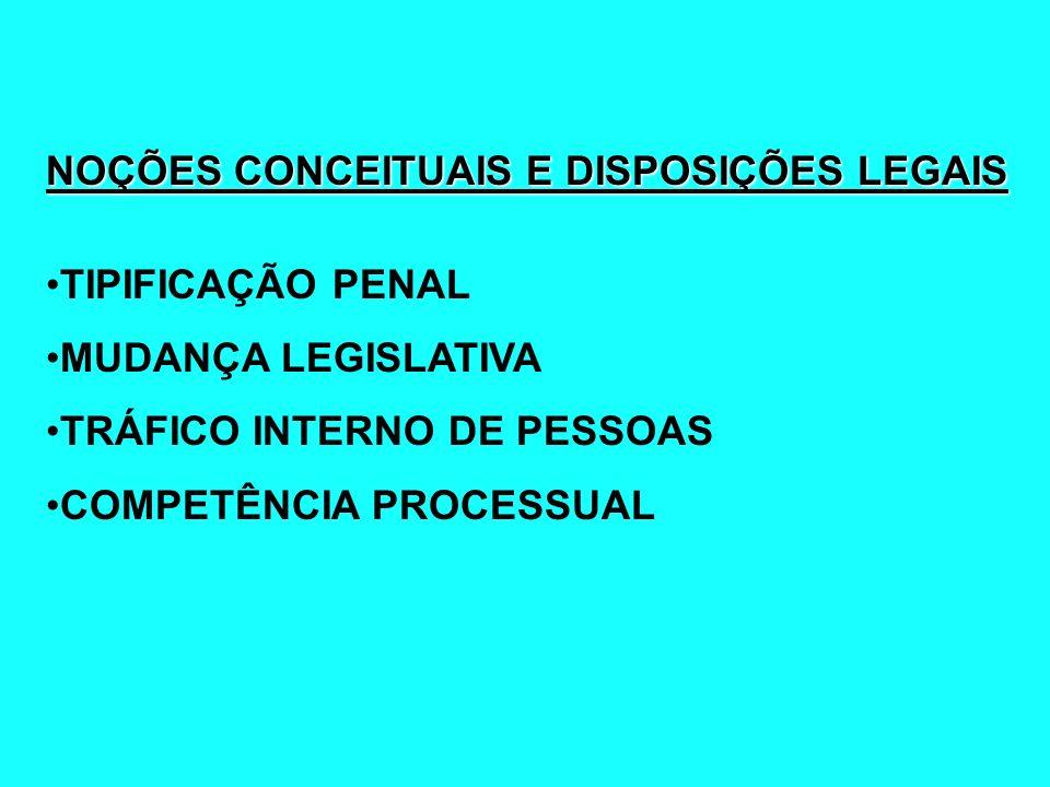 NOÇÕES CONCEITUAIS E DISPOSIÇÕES LEGAIS TIPIFICAÇÃO PENAL MUDANÇA LEGISLATIVA TRÁFICO INTERNO DE PESSOAS COMPETÊNCIA PROCESSUAL