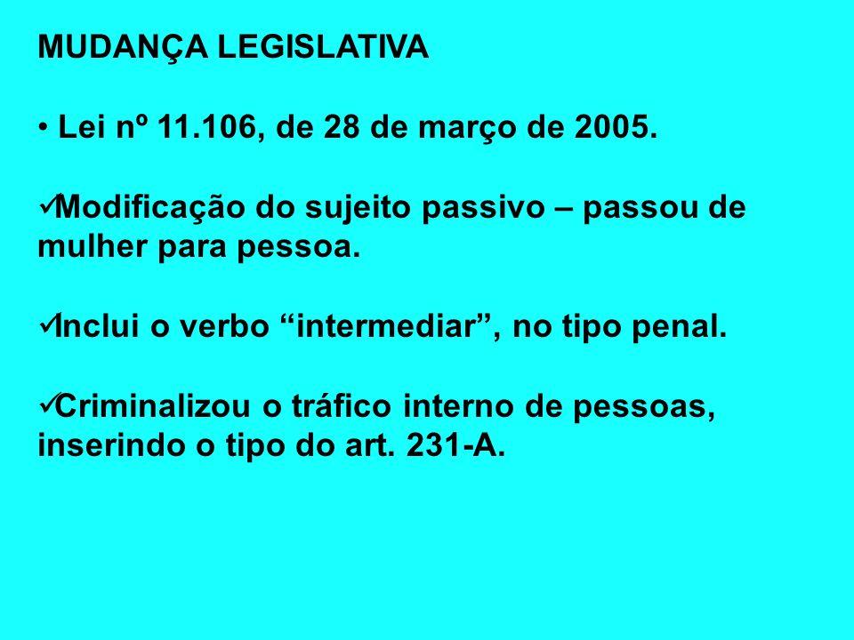 MUDANÇA LEGISLATIVA Lei nº 11.106, de 28 de março de 2005. Modificação do sujeito passivo – passou de mulher para pessoa. Inclui o verbo intermediar,