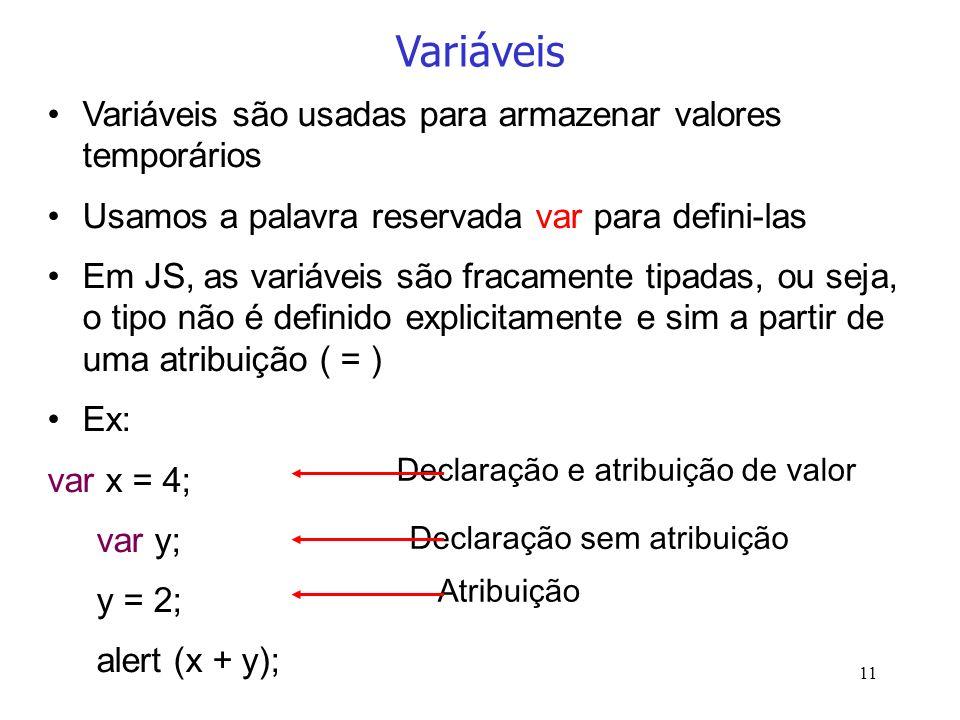 11 Variáveis Variáveis são usadas para armazenar valores temporários Usamos a palavra reservada var para defini-las Em JS, as variáveis são fracamente