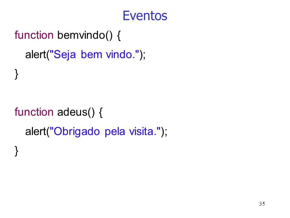 35 Eventos function bemvindo() { alert(