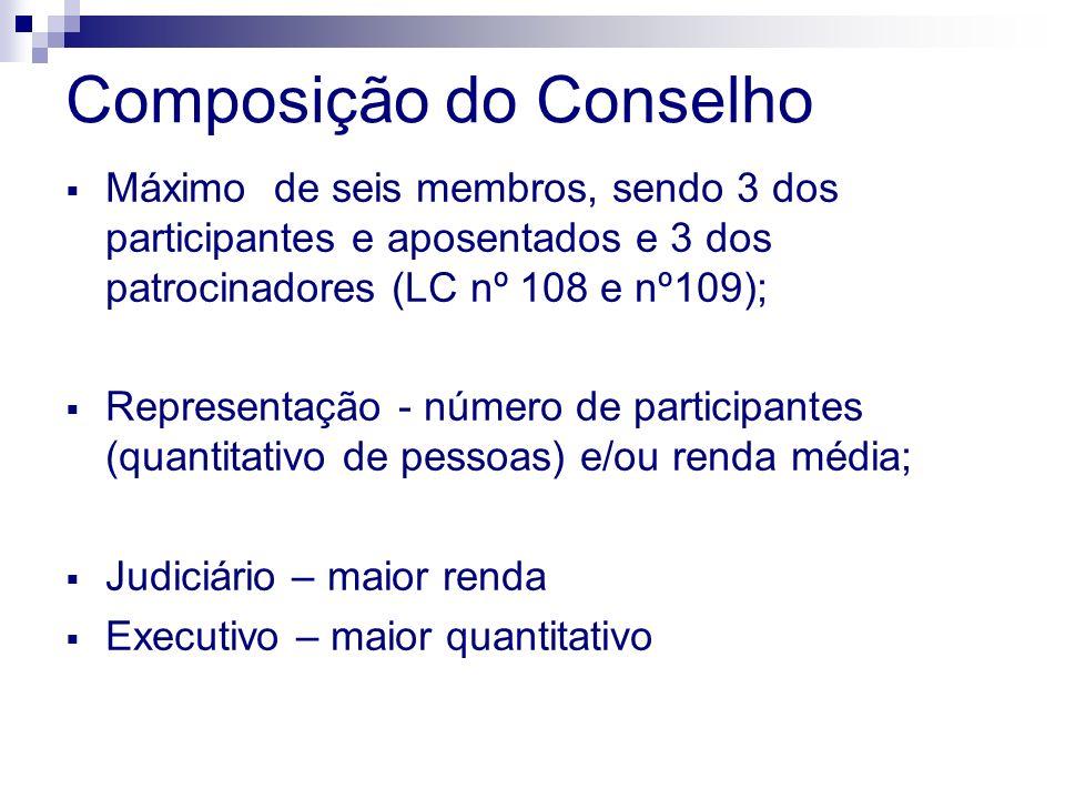 Composição do Conselho Máximo de seis membros, sendo 3 dos participantes e aposentados e 3 dos patrocinadores (LC nº 108 e nº109); Representação - número de participantes (quantitativo de pessoas) e/ou renda média; Judiciário – maior renda Executivo – maior quantitativo