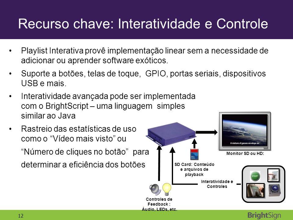 12 Recurso chave: Interatividade e Controle Playlist Interativa provê implementação linear sem a necessidade de adicionar ou aprender software exótico