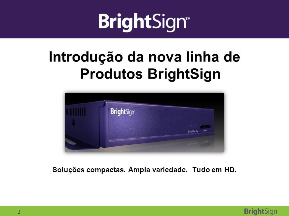 3 Introdução da nova linha de Produtos BrightSign Soluções compactas. Ampla variedade. Tudo em HD.
