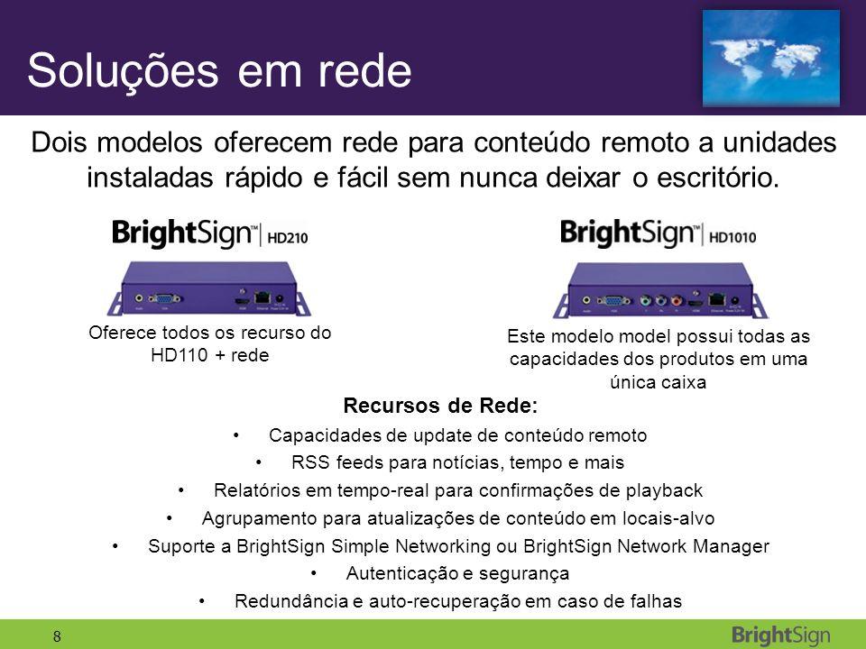 8 Soluções em rede Dois modelos oferecem rede para conteúdo remoto a unidades instaladas rápido e fácil sem nunca deixar o escritório. Recursos de Red