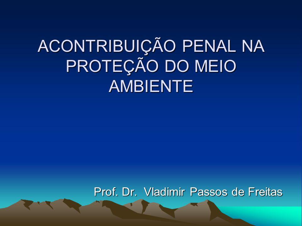 ACONTRIBUIÇÃO PENAL NA PROTEÇÃO DO MEIO AMBIENTE Prof. Dr. Vladimir Passos de Freitas Prof. Dr. Vladimir Passos de Freitas