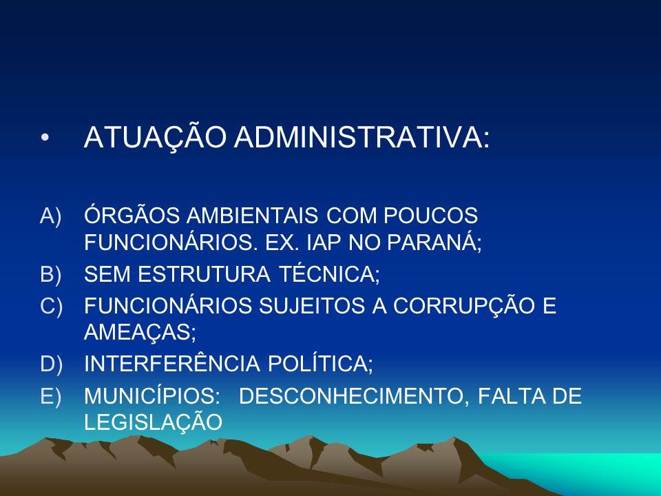 ATUAÇÃO ADMINISTRATIVA: A)ÓRGÃOS AMBIENTAIS COM POUCOS FUNCIONÁRIOS. EX. IAP NO PARANÁ; B)SEM ESTRUTURA TÉCNICA; C)FUNCIONÁRIOS SUJEITOS A CORRUPÇÃO E