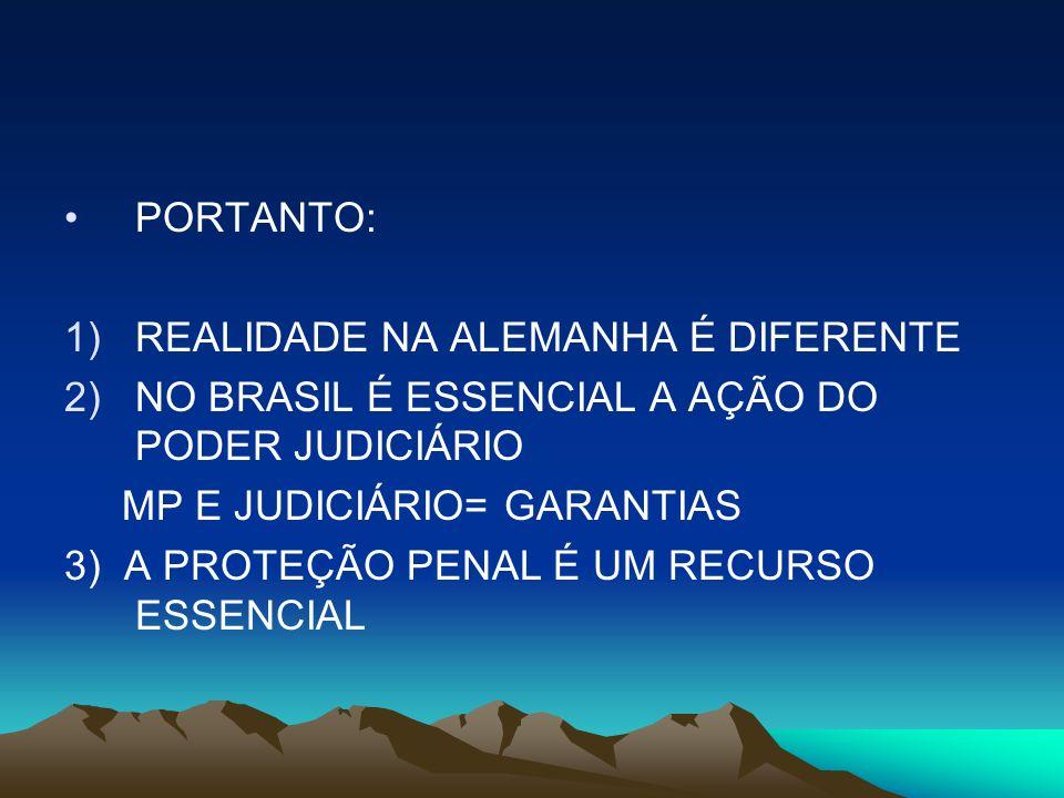 PORTANTO: 1)REALIDADE NA ALEMANHA É DIFERENTE 2)NO BRASIL É ESSENCIAL A AÇÃO DO PODER JUDICIÁRIO MP E JUDICIÁRIO= GARANTIAS 3) A PROTEÇÃO PENAL É UM R