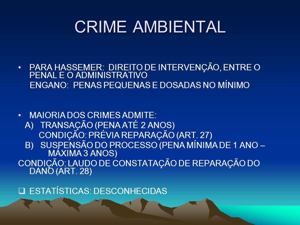 CRIME AMBIENTAL PARA HASSEMER: DIREITO DE INTERVENÇÃO, ENTRE O PENAL E O ADMINISTRATIVO ENGANO: PENAS PEQUENAS E DOSADAS NO MÍNIMO MAIORIA DOS CRIMES
