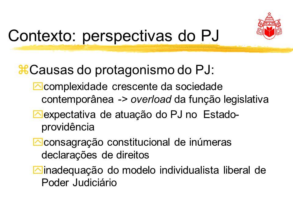 Contexto: perspectivas do PJ zCausas do protagonismo do PJ: ycomplexidade crescente da sociedade contemporânea -> overload da função legislativa yexpe