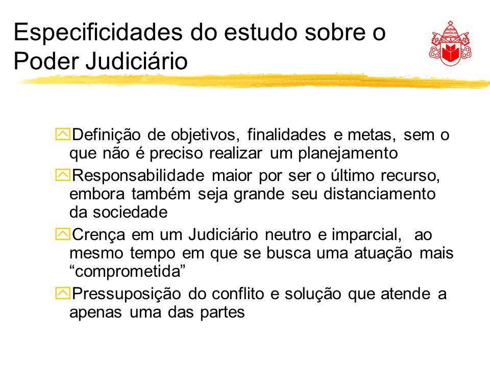 Especificidades do estudo sobre o Poder Judiciário yDefinição de objetivos, finalidades e metas, sem o que não é preciso realizar um planejamento yRes