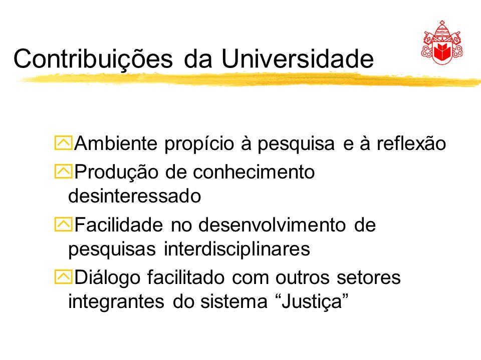 Contribuições da Universidade yAmbiente propício à pesquisa e à reflexão yProdução de conhecimento desinteressado yFacilidade no desenvolvimento de pesquisas interdisciplinares yDiálogo facilitado com outros setores integrantes do sistema Justiça
