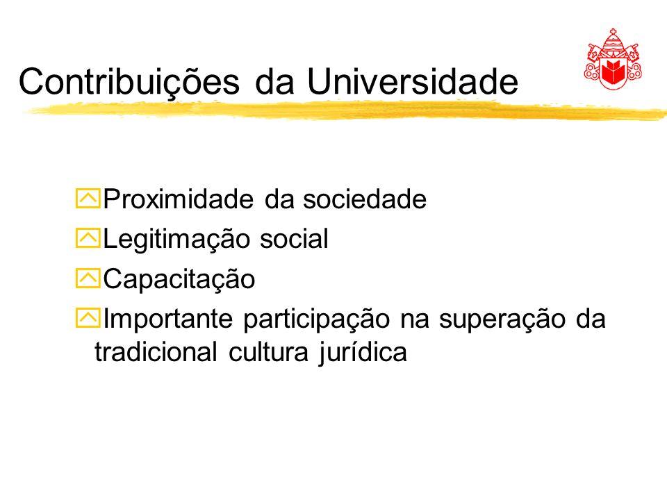 Contribuições da Universidade yProximidade da sociedade yLegitimação social yCapacitação yImportante participação na superação da tradicional cultura jurídica