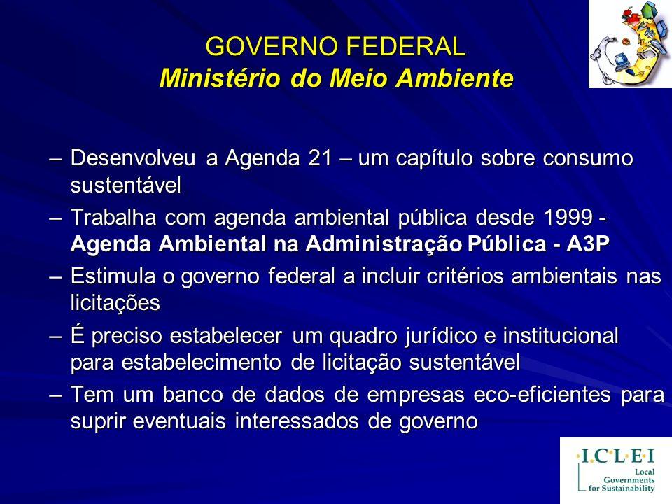 GOVERNO FEDERAL Ministério do Meio Ambiente –Desenvolveu a Agenda 21 – um capítulo sobre consumo sustentável –Trabalha com agenda ambiental pública de