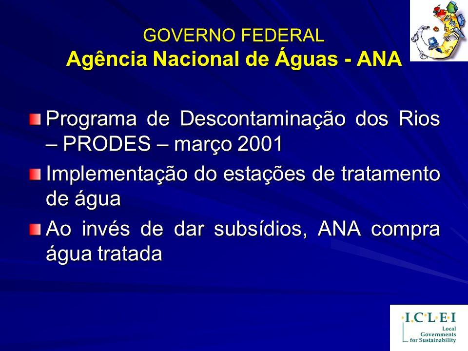 GOVERNO FEDERAL Agência Nacional de Águas - ANA Programa de Descontaminação dos Rios – PRODES – março 2001 Implementação do estações de tratamento de