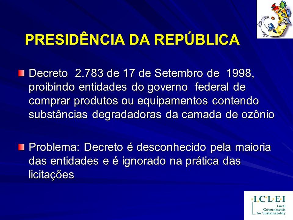 PRESIDÊNCIA DA REPÚBLICA Decreto 2.783 de 17 de Setembro de 1998, proibindo entidades do governo federal de comprar produtos ou equipamentos contendo