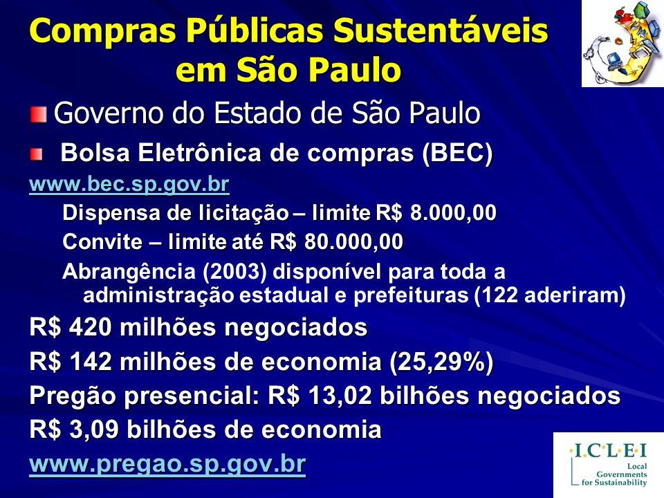 Compras Públicas Sustentáveis em São Paulo Governo do Estado de São Paulo Bolsa Eletrônica de compras (BEC) Bolsa Eletrônica de compras (BEC) www.bec.