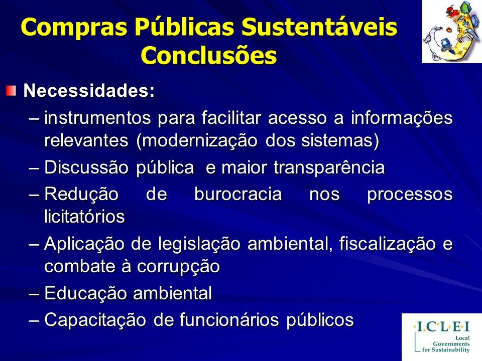 Compras Públicas Sustentáveis Conclusões Necessidades: –instrumentos para facilitar acesso a informações relevantes (modernização dos sistemas) –Discu